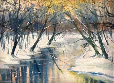 Aquarel schilderij van een winterlandschap: rivier in het bos tijdens zonsondergang