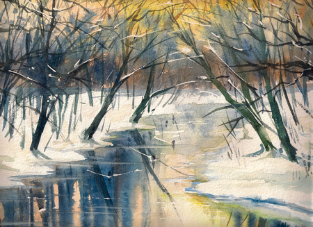 Watercolor painting of a winter landscape: river in forest during sunset