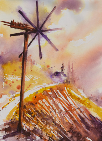 steiermark: Watercolor painted illustration of the Styrian Tuscany Vineyard with windmill -klapotetz in foreground, Austria