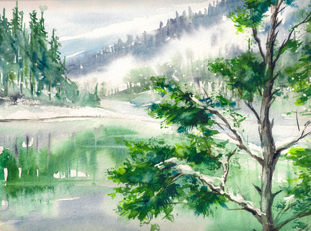 article: Winter landscape with lake and mountains reflecting in water. Picture created with watercolors on paper.
