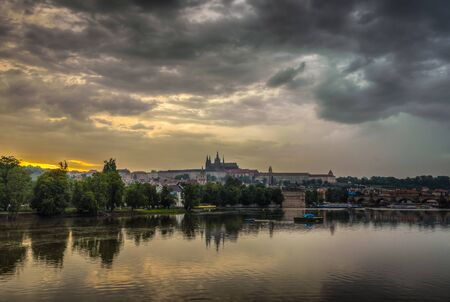charles bridge: Charles Bridge and castle with reflection in rainy day.Prague, Czech Republic.