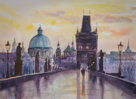 Karlsbrücke in Prag, Tschechische Republik. Bild erstellt mit Aquarellen.