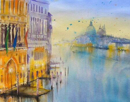 italian culture: Venice architecture.Picture created with watercolors. Stock Photo