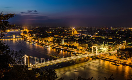 Night view of Budapest, Hungary with Elisabeth brudge over Danube river from fortress Citadel