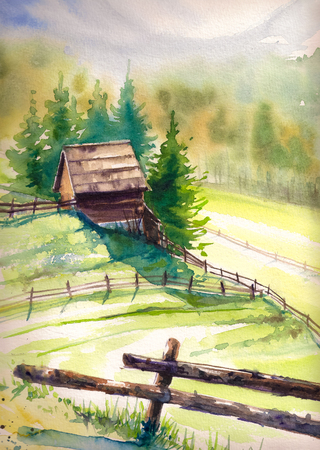 wooden hut: Wooden hut in mountains.Picture created with watercolors. Stock Photo