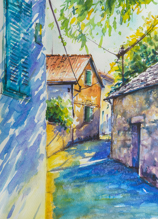mediterranean homes: Old mediterranean street and architecture in Croatia.Picture created with watercolors.