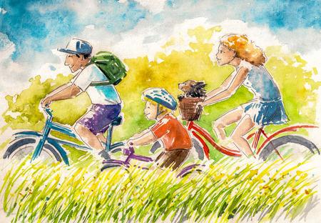 Gelukkige familie-jongen en zijn ouders op zomer fietsen. Afbeelding gemaakt met aquarellen. Stockfoto