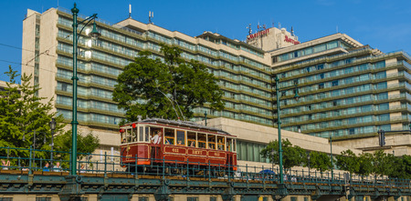 tramcar: Budapest- MAY 28: People traveling with old tram to the Danube Promenade on 28, 2016 in Budapest, Hungary.