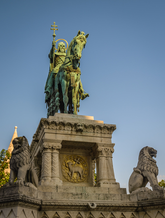 stephen: Statue of Saint Stephen I - the first king of Hungary in Budapest Hungary Editorial