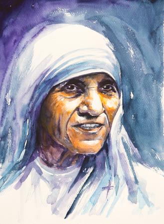 26 juli 2016 Portret van Moeder Teresa ook wel bekend als de zalige Teresa van Calcutta.Mother Teresa was een Albanese Rooms-katholieke non en missionary.Picture gemaakt met aquarellen. Stockfoto