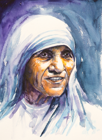 beatification: 26 July 2016 Portrait of Mother Teresa also known as Blessed Teresa of Calcutta.Mother Teresa was an Albanian Roman Catholic nun and missionary.Picture created with watercolors.
