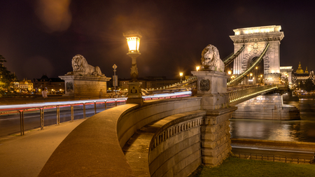 Night shot of Szechenyi Chain Bridge is a suspension bridge spans the River Danube of Budapest, the capital of Hungary. Stock Photo
