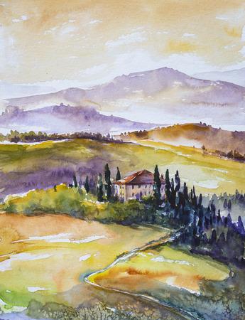 Aquarel illustratie van de landelijke Toscaanse landschap-velden, bomen, boerderijen en bergen op de achtergrond.
