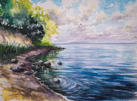 Stone beach under the cliff .Picture created with watercolors.