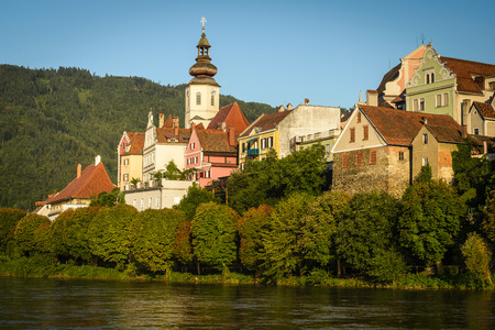 Old architecture of Frohnleiten-small city above Mur river, Styria, Austria. Stock Photo