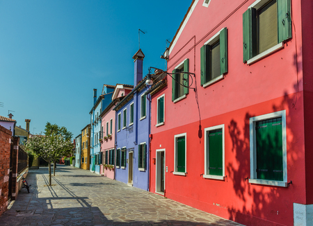 Colorful old houses on the Island of Burano near Venice, Italy Stock Photo