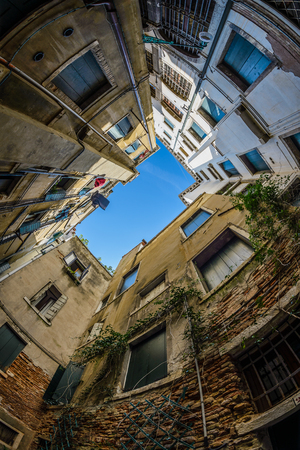 fish eye: Fish eye view at architecture of Venice, Italy.