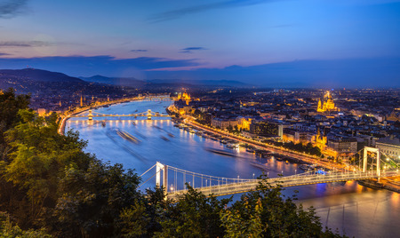 elisabeth: Night view of Budapest,Hungary with Elisabeth brudge over Danube river from fortress Citadel