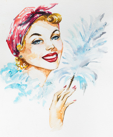 Young beautiful woman holding cleaning static duster.Picture created with watercolors.