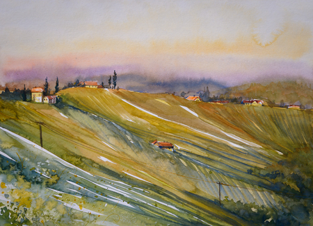 Chianti Region Hills With Vineyard At Sunset In Tuscany Stock ...