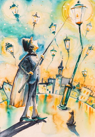 Lamplighter lights and street gas lamps. Picture created with watercolors.