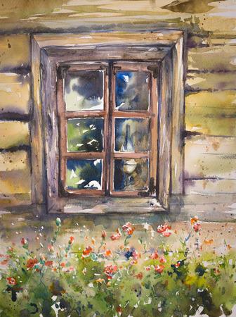 木造の古い窓の水彩イラストを手作り。 写真素材