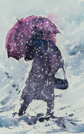 fall winter: Woman with umbrella and handbag going in deep snow during snowy storm .Picture created with watercolors.