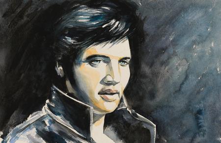 Portrait d'aquarelles du chanteur de rock and roll.