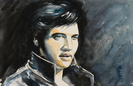 Watercolors portrait of rock and roll singer   . Редакционное