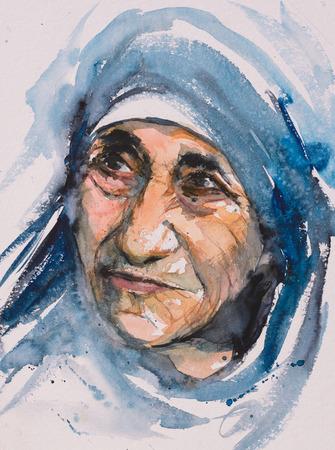 2 oktober 2016 Portret van Moeder Teresa ook wel bekend als de zalige Teresa van Calcutta.Mother Teresa was een Albanese Rooms-katholieke non en missionary.Picture gemaakt met aquarellen. Stockfoto