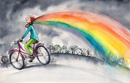 transforms: Man on bicycle in gray day.His colorful kerchief around his neck transforms into rainbow.Picture created with watercolors. Stock Photo