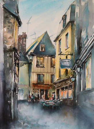 narrow street: Small, narrow street in old city of Le Mans,France. Picture created with watercolors. Stock Photo