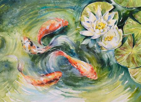 연못에서 수영하는 다채로운 물고기. 수채화로 만든 그림입니다.