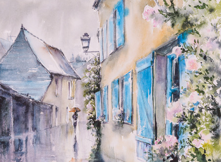 narrow street: Azay le Rideau,France in rainy day.Picture created with watercolors.