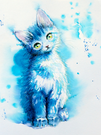 Sitting cute little blue cat.Picture created with watercolors.