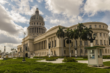 National Capitol during renovation in Havana Cuba. Havana is the largest city in Cuba and its Old Town is a UNESCO World Heritage Site. Stock Photo