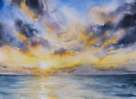 Sunset on the lake.Picture created with watercolors.