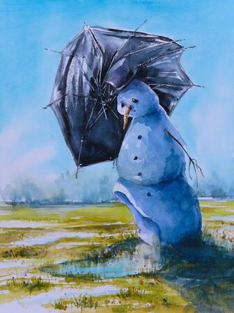 remains: Sad snowman with umbrella.Picture cretaed with watercolors. Stock Photo