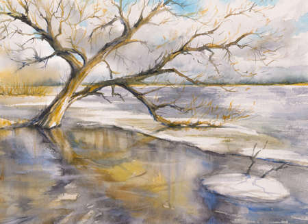 Tree close to the river.Picture created with watercolors.