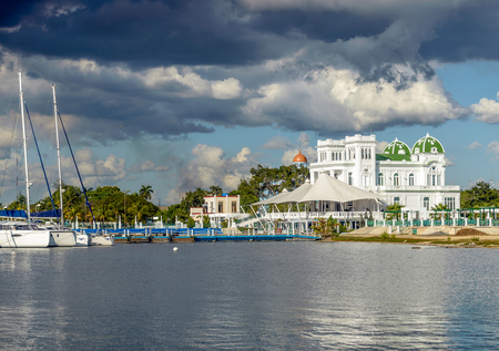Waterside scenery around Cienfuegos in Cuba and the island in the Caribbean Sea Stock Photo