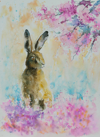 Hare on the spring meadow.Picture create with watercolors. Stock Photo