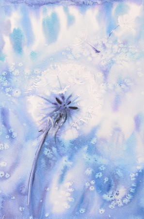 rounds: Abstract Watercolor Art Hand Paint Flower Background With Dandelion