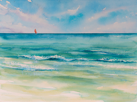 Tropical beach background.Picture created with watercolors. Stock fotó