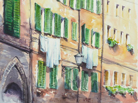 Italian architecture with drying clothes hanging outside the windows. Picture created with watercolors.