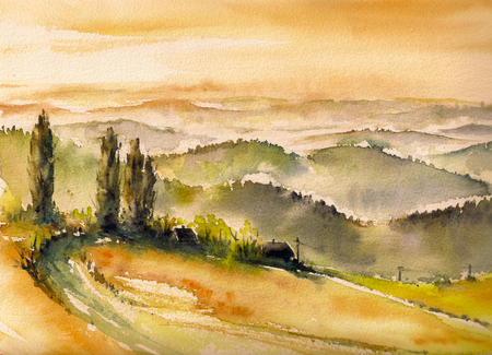 vineyard sunset: Landscape with vineyards at sunset in South Styria watercolors painted.