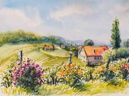 Landscape with sommer vineyards and roses bushes in South Styria, Austria.Picture created with watercolors.