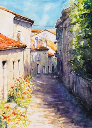 Save Download Preview Old mediterranean street and architecture in Croatia.Picture created with watercolors.