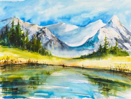 山と湖があります。湖と山が雪の風景水彩画に覆われています。
