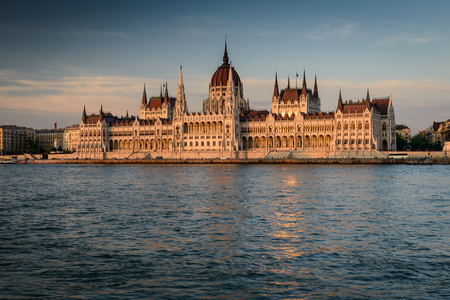 Budapest at sunset near the Danube river