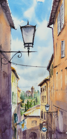 articles: The historic center of Siena, Italy. Picture created with watercolors.